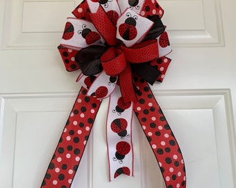 Mailbox Bow The Hilde Red /& Tan Ladybug Bow for Wreaths and Lanterns Farmhouse bow Summer Bow Swag bow