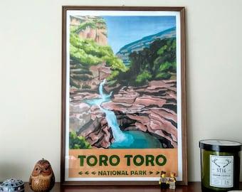 Toro Toro National Park Vintage Travel Poster, Bolivia, vintage print, wall art, wall decor, travel poster, south american art, andean art