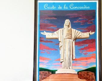 Cristo de la Concordia, Cochabamba, Bolivia, vintage print, wall art, wall decor, travel poster, south american art, andean art