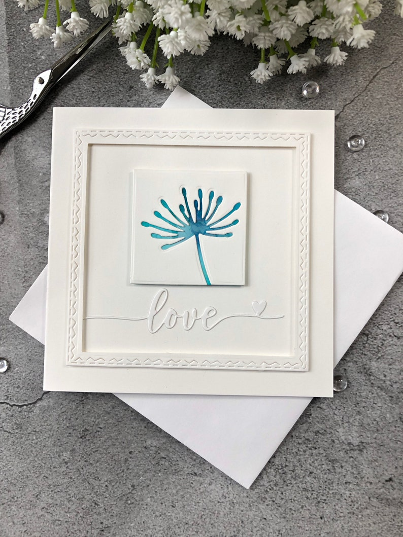 Hand Made Card Thinking of You Card Card for Friends Love You Card Love Card Card for Her Just Because Card Hand Stamped Card