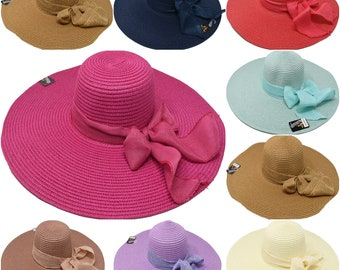 d281f5ab928 Wide Summer Hats With Ribbon and Chain style 7 Colors Buy Big for a Big  Summer!!