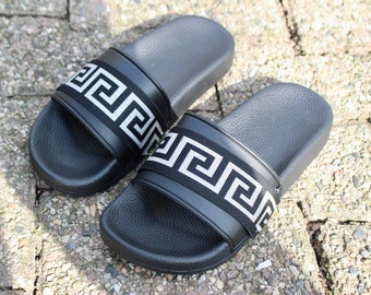 6554523c4b5d Versace Inspired Sandals Slides Designer Inspired Man Slides Sandals Greek  Style Black   Silver Slides Father s Day Gift Unisex Slides
