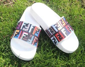 775fff4b8d34 Fendi Inspired Logo Slides Designer Inspired Slides Unisex Sandals High  Fashion Sandals FF Logo Slides Mother s Day Gift Unisex Slides