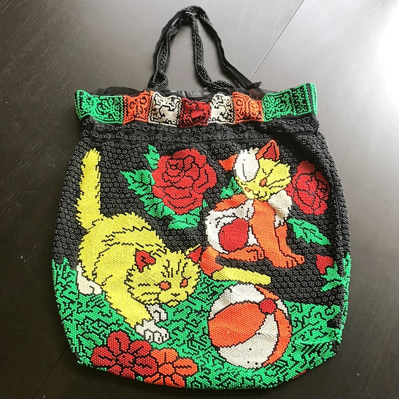 VTG Beaded Cat Bag