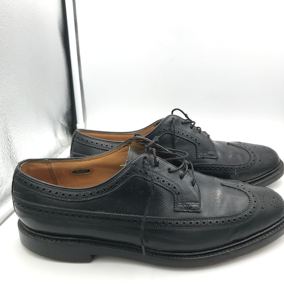 VTG Florsheim Black Wingtip Shoes