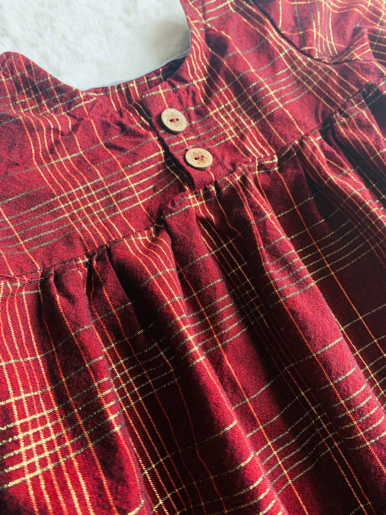 kinsey dress in metallic burgundy plaid; baby/'s first birthday outfit; toddler girl clothes; newborn; vintage inspired dress; red; green