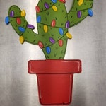 Christmas Cactus Wreath Attachment or Hanger, hand painted wood cactus in pot sign