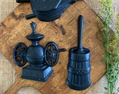 Vintage cast iron kitchen wall hangings 3 Mid Century decor black coffee mill grinder butter churn bellow miniature country farmhouse decor