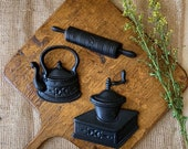 Vintage cast iron kitchen wall hanging 3 Mid Century decor black kettle coffee grinder rolling pin miniature country decor farmhouse kitchen
