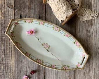 Vintage Dresser Tray Marked Bavaria Trinket Dish Pink Roses Green Leaves Jewelry Dish Celery Boat
