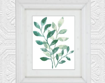 Green Leaves Watercolor Cross Stitch Pattern, PDF Instant Download, Leaf Cross Stitch Pattern, Tree Print Cross Stitch, Modern Leaves, Tree
