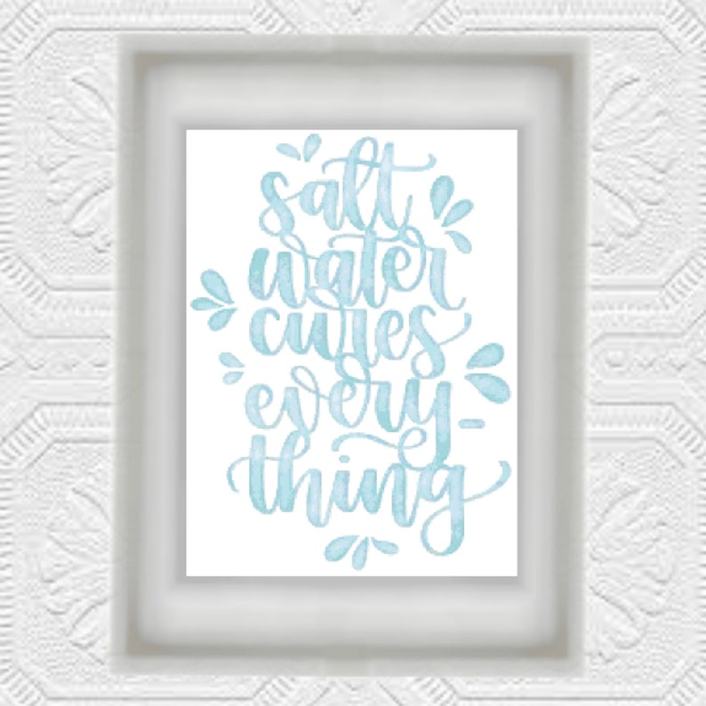 Salt Water Cures Everything Cross Stitch Pattern PDF Instant image 0