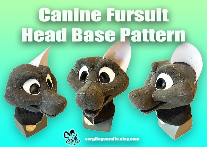 Hollow Canine Fursuit Head Base Pattern image 1
