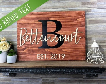 Personalized Wedding Gift | Last Name Sign | Monogram Sign | Family Name Sign | Anniversary Gift | Established Sign | Wedding Sign