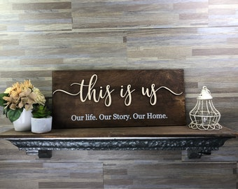 this is us sign | custom wood sign | rustic home decor | our first home | our story | home signs | custom home sign
