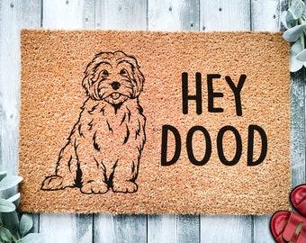Hey Dood Golden Doodle Dog   Goldendoodle Doormat   Labradoodle Doormat   Welcome Mat   Housewarming Gift   Closing Gift   Cute Dog Puppy