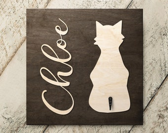 Personalized Name Cat Sitting 3D Name Cutout Key Leash Hook Holder | Wood Sign Hanger | Laser Wood Cutout Cut Name | Custom Name Sign
