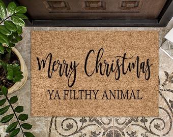 Merry Christmas Ya Filthy Animal   Christmas Doormat   Christmas Decoration   Welcome Mat   Holiday Doormat   Santa Doormat   Christmas Gift