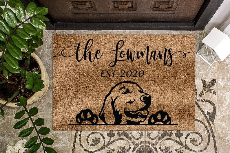 Gifts For Golden Retriever Owners - Custom Golden Retriever doormat.
