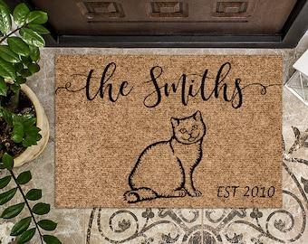 Russian Blue Cat Doormat    Personalized Doormat   Custom Doormat   Welcome Mat   Housewarming Gift   Closing Gift   Last Name Door Mat