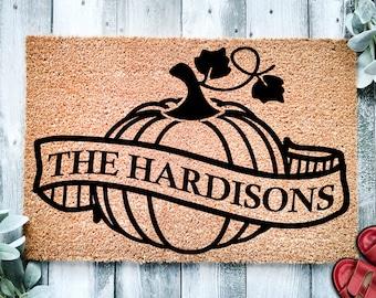 Pumpkin Banner Family Name Door Mat   Fall Doormat   Welcome Mat   Pumpkin Door Mat   Fall Autumn Decor Gift   Home Doormat   Custom Doormat
