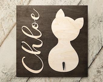 Personalized Name Cat Sitting v2 3D Name Cutout Key Leash Hook Holder | Wood Sign Hanger | Laser Wood Cutout Cut Name | Custom Name Sign