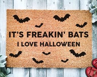 Its Freakin Bats I Love Halloween Door Mat | Funny Meme Doormat | Welcome Mat | Halloween Decor | Home Doormat | Halloween Welcome Mat