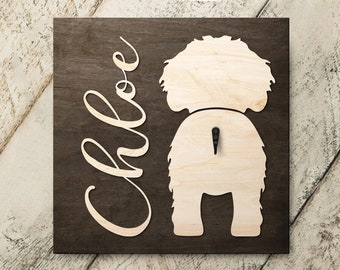 Personalized Name Cockapoo 3D Name Cutout Leash Hook Holder | Wood Sign Hanger | Laser Wood Cutout Cut Name | Custom Name Sign