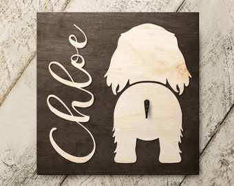 Personalized Name Dachshund Long Haired 3D Name Cutout Leash Hook Holder | Wood Sign Hanger | Laser Wood Cutout Cut Name | Custom Name Sign