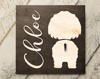 Personalized Name Shih Tzu 3D Name Cutout Leash Hook Holder | Wood Sign Hanger | Laser Wood Cutout Cut Name | Custom Name Sign