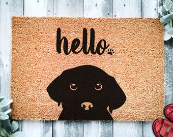 Black Labrador Hello | Cute Lab Dog Peeking Doormat | Welcome Mat | Funny Door Mat | Funny Gift | Home Doormat | Housewarming | Closing Gift