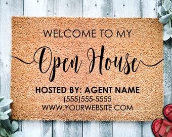 Open House Realtor Door Mat | Open House Doormat | Business Doormat | House Selling Front Door Mat | Real Estate Agent Gift | Home Listing
