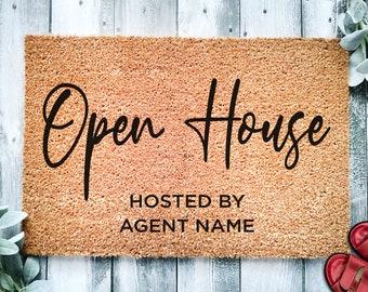 Open House Realtor Door Mat v3 | Open House Home Doormat | Business Doormat | House Selling Listing Front Door Mat | Real Estate Agent Gift