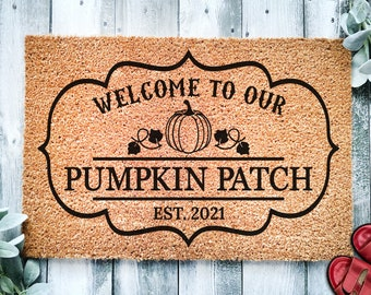 Welcome To Our Pumpkin Patch EST Home Door Mat   Fall Doormat   Welcome Mat Door Mat   Fall Autumn Decor   Home Doormat   Custom Doormat