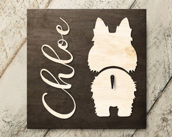 Personalized Name Sheltie 3D Name Cutout Leash Hook Holder | Wood Sign Hanger | Laser Wood Cutout Cut Name | Custom Name Sign