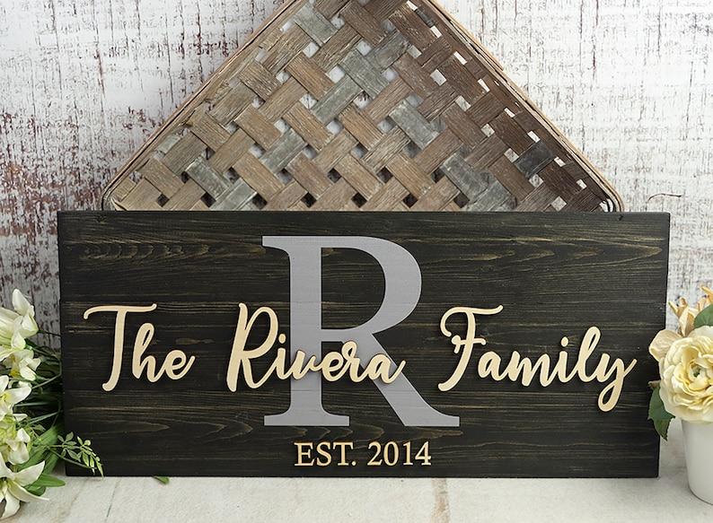 Wedding Gift  Last Name Sign  Monogram Sign  Family Name image 1