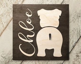 Personalized Name English Bulldog 3D Name Cutout Leash Hook Holder | Wood Sign Hanger | Laser Wood Cutout Cut Name | Custom Name Sign