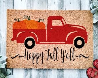 Happy Fall Y'all Pumpkin Antique Pickup Truck Door Mat   Fall Doormat   Welcome Mat   Fall Door Mat   Fall Autumn Decor Gift   Home Doormat