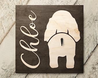 Personalized Name Cocker Spaniel v2 3D Name Cutout Leash Hook Holder | Wood Sign Hanger | Laser Wood Cutout Cut Name | Custom Name Sign