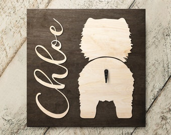Personalized Name Chow Chow 3D Name Cutout Leash Hook Holder | Wood Sign Hanger | Laser Wood Cutout Cut Name | Custom Name Sign