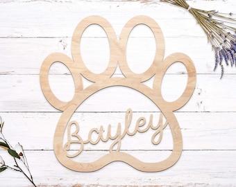 3D Paw Print Pet Name Cutout   Laser Cut Name   Custom Name Sign   Pet Name Sign   Wood Cutout Name   Wood Name   Dog Cat Name