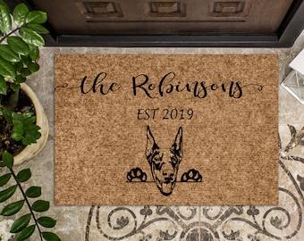 Doberman Pincher Dog   Personalized Doormat   Custom Doormat   Welcome Mat   Housewarming Gift   Last Name Door Mat   Closing Gift   Family