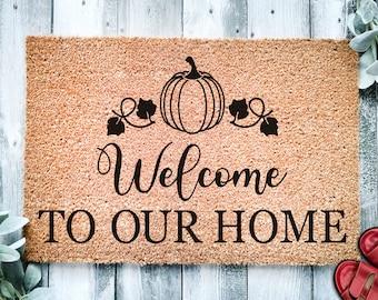 Welcome to Our Home Pumpkin Vines Door Mat   Fall Doormat   Welcome Mat   Cute Pumpkin Fall Door Mat   Fall Autumn Decor Gift   Home Doormat