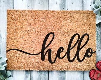 Hello Cursive Script Door Mat | Custom Doormat | Welcome Mat | Door Mat | Housewarming Gift | Home Doormat | Home Decor | Front Door