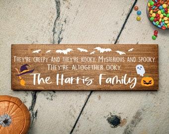 Personalized Halloween Creepy And Kooky Family Name Gift   Funny Personalized Family Sign   Gift for Family   Sign for Family Gift Idea