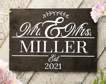 Mr & Mrs Split Monogram Personalized Wedding Sign Custom v2   Wedding Gift   Pallet Sign   Perfect Wedding Gift   Anniversary   Housewarming