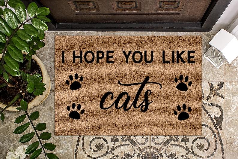 I Hope You Like Cats   Housewarming Gift  Custom Doormat image 0