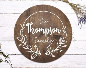 Round Last Name Family Sign with Dove   Family Name Sign   Wreath Sign   Personalized Wedding Gift   Pallet Sign   Wedding Sign   Wood Sign