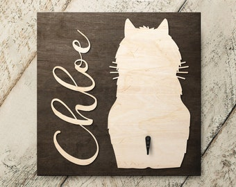 Personalized Name Cat Long Haired 3D Name Cutout Key Leash Hook Holder | Wood Sign Hanger | Laser Wood Cutout Cut Name | Custom Name Sign