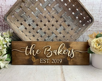 Wedding Gift | Family Name Sign | Bridal Shower Gift | Personalized Wedding Gift | Wedding Sign | Last Name Sign | Established Sign